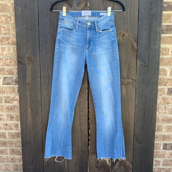 Frame Denim Denim - Frame Le High Flare Raw Hem Ankle Crop Jean SZ 25